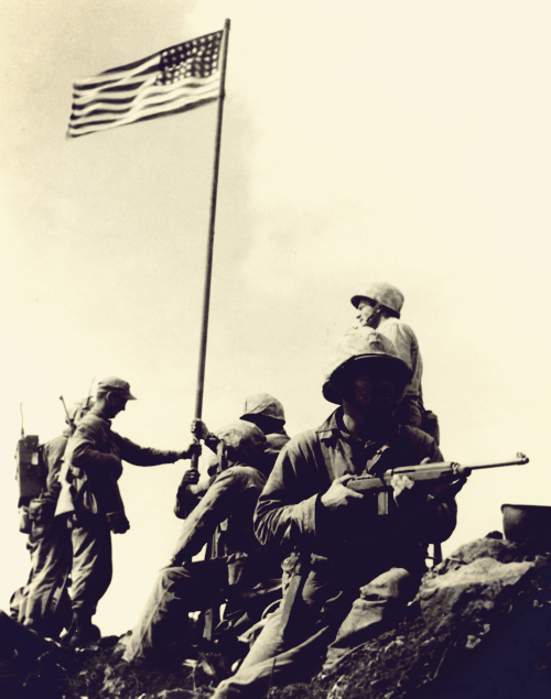 Marines raising the flag at Mount Suribachi