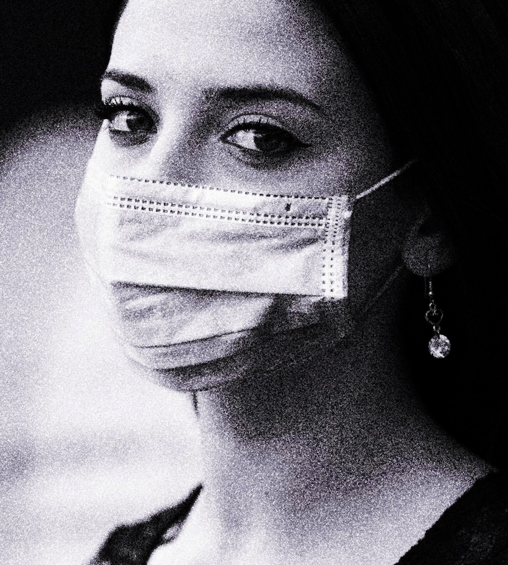 Woman wearing mask during pandemic